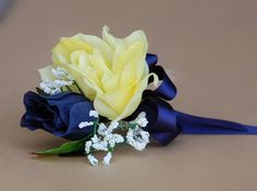 yellow and blue corsage