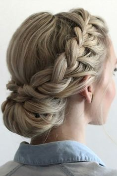 Braids Up Dos Idea 42 braided prom hair updos to finish your fab look braided Braids Up Dos. Here is Braids Up Dos Idea for you. Braids Up Dos 42 braided prom hair updos to finish your fab look braided. Braids Up Dos 41 beautifu. Braided Prom Hair, Braided Updo, Hairstyle Braid, French Braid Updo, Bridesmaid Hair Updo Braid, Low Chignon, Wedding Updo With Braid, Makeup Hairstyle, Fishtail Plaits