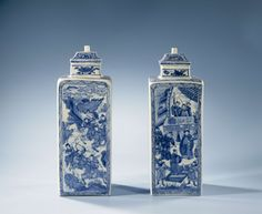 Vierkante fles, Kangxi,  met blauw decor, anoniem, ca. 1675 - ca. 1700