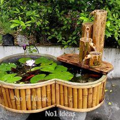 Diy Garden Fountains, Diy Fountain, Diy Waterfall, Waterfall House, Bamboo Water Fountain, Garden Pond Design, Diy Pond, Ponds Backyard, Fish Tank