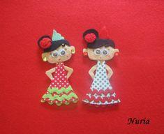 EL FIELTRO EN MIS MANOS: Trianita,una flamenca en fieltro Felt Ornaments, Christmas Ornaments, Felt Diy, Crafts For Kids, Craft Kids, Holiday Decor, Andalucia, Caillou, Chorizo