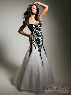 Wedding dress with black