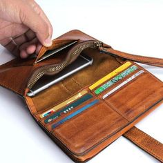 Handmade Leather Mens Cool Long Leather Wallet Bifold Clutch Wallet for Men Handmade Leather Mens Cool Long Leather Wallet Bifold Clutch Wallet fo – iwalletsmen Leather Gifts, Handmade Leather, Leather Jewelry, Leather Craft, Leather Purses, Leather Handbags, Leather Bag, Leather Accessories, Wallets For Women Leather