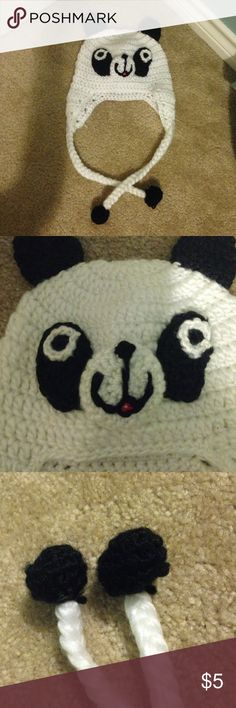 Cute Panda Knitted Winter Hat🐼❄️ I got this knitted hat from a little Christmas shop in my hometown! I haven't had more than 2 chances to wear it and it needs some love! No stains or holes and I don't think it's itchy :) Warm and cute! Comes from a smoke-free home. Accessories Hats