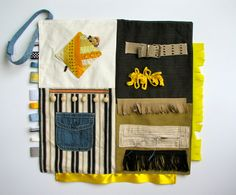This activity blanket is perfect for loved ones who need to fidget or fiddle with textures and objects. Hand-crafted with new and up-cycled