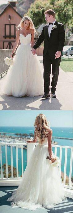 A Line See-through Bateau Beach Wedding Dress,Lace Appliqued Floor ...