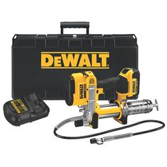 Dewalt Max Grease Gun Comes with grease gun case, battery, and charger. FREE TOOL Choices are: 20 V Max Li-ion… Dewalt Power Tools, V Max, Air Tools, Impact Wrench, Impact Driver, Luz Led, Lampe Led, Bar, Working Area