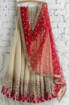 The Stylish And Elegant Lehenga Choli In Cream Colour Looks Stunning And Gorgeous With Trendy And Fashionable Embroidery . The Net Fabric Party Wear Lehenga Choli Looks Extremely Attractive And Can Ad. Indian Lehenga, Net Lehenga, Lehenga Choli Online, Bridal Lehenga Choli, Orange Lehenga, Lehenga Gown, Lehenga Choli Designs, Designer Bridal Lehenga, Designer Sarees