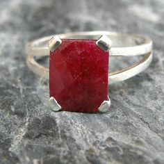 Cyber Monday Sale Ruby Engagement Ring , Opaque Ruby Ring Sterling Silver Ring , Emerald Cut Ring , Genuine Ruby Jewelry , Red Gemstone Ring –