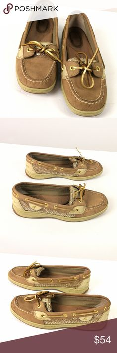 Sperry Top-Sider Goldfish Shoe Goldfish Sz 7 Sperry Top-Sider GOLDFISH Loafers Leopard Sequin Leather Boat Shoes Sz 7M  Size  7 M womans  Brown Leather and textile  Man-made waterproof sole  Very Good condition Light wear      (3373 C5B) Sperry Shoes