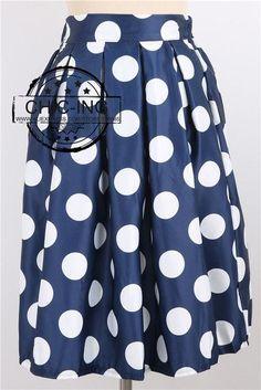CHICING 2016 Casual Polka Dots Printed Flared Tutu Circle Pleated Midi Skater Skirts High Waist Fall Winter Women Saias A148024