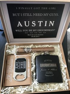 An Honest View of Groomsmen Gifts is part of Bridesmaid groomsmen gifts The next step in determining what things to write in a wedding card is to produce an outline If it comes to the way to si - Groomsmen Gift Box, Be My Groomsman, Groomsmen Proposal, Wedding Gifts For Groomsmen, Bridesmaid Proposal Box, Bridesmaid Boxes, Bridesmaids And Groomsmen, Groomsman Gifts, How To Ask Groomsmen