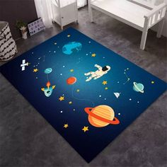 Childrens Bedroom Accessories, Childrens Bedrooms Boys, Kids Room Accessories, Childrens Rugs, Boys Space Bedroom, Outer Space Bedroom, Nursery Room Decor, Bedroom Themes, Blue Space