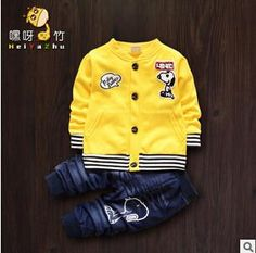 Autumn/ Winter Snoopy  Cartoon Coat + Pants 2 Piece Newborn Baby Boys  and Girls Outfit