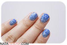 Manicura Estampada en Tonos Azules para navidades