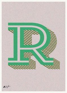 R by Andreas Jarner | #Typography #Symbols #Alphabet #Letters #Black #Green #Pink #JUNIQE | See more designs at www.juniqe.co.uk