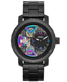 Superman fossil might be for a man but i would totally rock this fossil watch mens nate mechanical twist black tone stainless steel bracelet 46mm me1142 freerunsca Choice Image