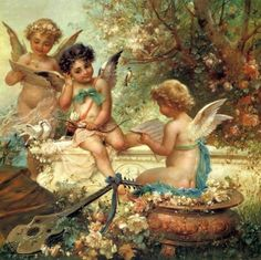 Paintings by Hans Zatzka, Austrian artist, Vienna, Academy, Fine Arts, success, research trips, fresco painting, portraits, ideal images, women and cupids