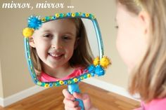 """Today we are decorating our own Snow White craft """"Mirror Mirror"""". Our mirrors are hand held, but all the more fun to hold and play with anywhere!"""