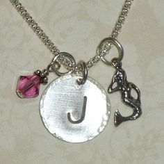 Im libing this artist's jewelry. Mermaid Initial Charm Dangle Hand Stamped by DolphinMoonCreations, $29.00