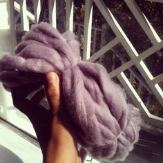 Blackberry dyed wool.