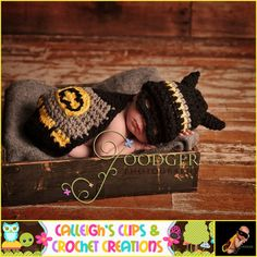 Batman crocheted baby outfit
