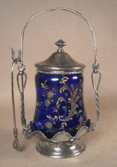 Antique Victorian Forbes Silver Co Cobalt Enameled Glass Pickle Castor