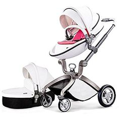 Hot Mom® Pushchair 2016, 3 in 1 Baby Stroller Travel System With Bassinet White (pink)