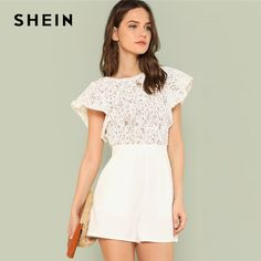 Price $26.50 SHEIN Summer Lace Bodice Ruffle Trim Romper 2018 Summer Round Neck Cap Sleeve Short Jumpsuits Women White Elegant Jumpsuits     Tag a friend who would love this!       Buy one here---> https://www.fashiondare.com/shein-summer-lace-bodice-ruffle-trim-romper-2018-summer-round-neck-cap-sleeve-short-jumpsuits-women-white-elegant-jumpsuits/