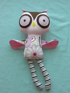 Handmade stuffed Owl Doll Plush Owl Cloth Owl Made to by cocomia, $30.00