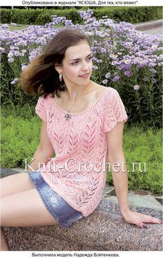 Женский пуловер с рукавом реглан размера 44-46, связанный на спицах.
