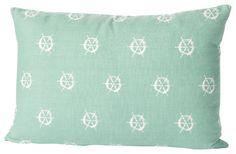 Montauk Wheels Small Pillow, Aqua/White - contemporary - pillows - Cricket Radio