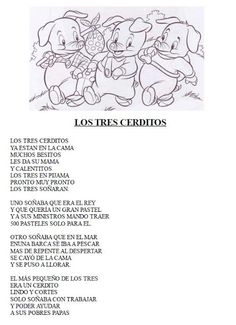 RECURSOS EDUCACION INFANTIL: Poesia: Los tres cerditos Teaching Poetry, Teaching Spanish, Teaching Resources, Poetry For Kids, Goldilocks And The Three Bears, Bilingual Classroom, Spanish Songs, Baby Songs, Preschool Projects
