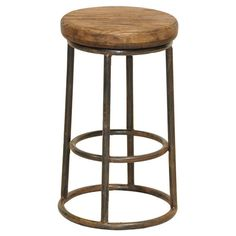 This modern take on an old classic bar stool is a show piece in any home. The Industrial Bar Stool features a solid reclaimed pine wood seat and it's sturdy iron base construction. Handcrafted from salvaged wood and recycled iron. Rustic Counter Stools, Reclaimed Wood Counter, Metal Bar Stools, Kitchen Stools, Bar Counter, Metal Chairs, Industrial Bar Stools, Salvaged Wood, Classic Home Furniture