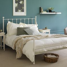 this blue/green is more 'me and less girlie'...still too dark?  looks good with the white furniture.
