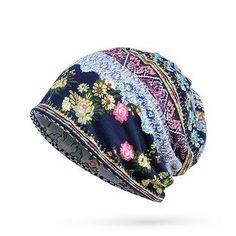 Women Cotton Print Stripe  Bonnet Hats  Casual Outdoor Sun  Cap Multi-function Towel