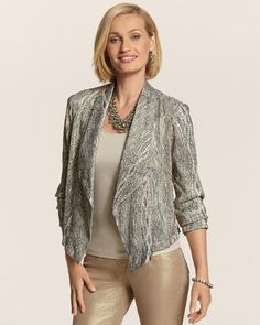 Metallic Crinkle Drape Front Jacket in {productContextTitle} from {brandTitle} on shop.CatalogSpree.com, your personal digital mall.