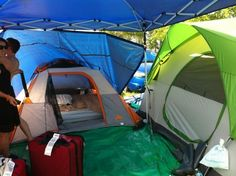 This sort of setup is ideal for groups going to Bonnaroo because it gives you space to hang out during the day that's not as hot as your tent.