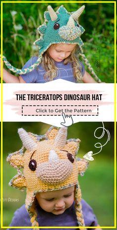 crochet The Triceratops Dinosaur Hat easy pattern Crochet Dinosaur Hat, Crochet Kids Hats, Crochet Toys Patterns, Crochet Animals, Stuffed Toys Patterns, Crochet Children, Amigurumi Patterns, Crochet Projects, Crochet Ideas