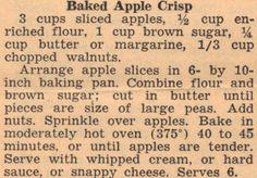 Recipe For Baked Apple Crisp