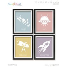 Outer Space Nursery Artwork Baby Girl Room by SweetChildDesignsFL
