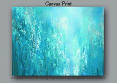 Large teal turquoise & gray abstract canvas print for home or office decor by Denise Cunniff - ArtFromDenise.com. View more info at https://www.etsy.com/listing/204758182