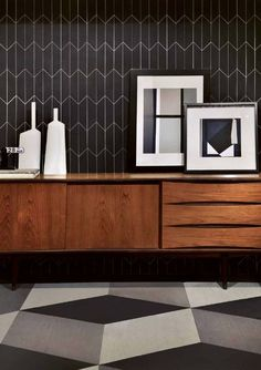 leausa.us - black geo tile by Lea, white grout