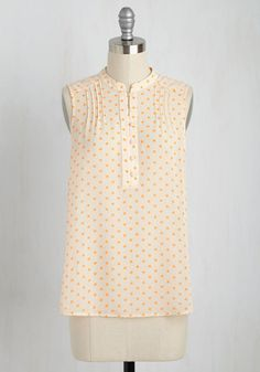 Administrative Excellence Top - Polka Dots, Buttons, Work, Sleeveless, Woven, Good, Crew, Mid-length, Cream, Orange
