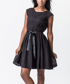 Take a look at this Black Lace Ribbon Dress by Amelia on #zulily today!