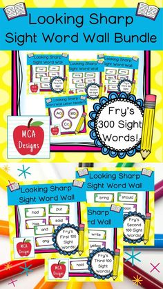 This bundle features all 300 of Fry's sight words! 183 pages of pencil themed word wall posters to brighten your classroom! My Looking Sharp Sight Word Wall Bundle includes: All 300 Fry sight words Coordinating word wall letter headers #sightwords #teacherspayteachers #tpt