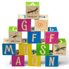 Help your kids learn about insects without getting stung. Our 28 block Bugs alphabet set includes 28 multi-color insects, as well as uppercase and lowercase alphabets, with a few extra vowels so you can spell the names of most bugs. This set made from pure Michigan basswood also includes numbers, math symbols, and insect-related graphic patterns (honeycomb, insect wing, grass, etc).28 Basswood cubes, 1.75 inches each. Made in USA.Ages 2