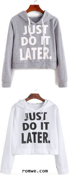 Shop Grey Letter Print Hooded Crop Sweatshirt at ROMWE, discover more fashion styles online. Half Shirts, Cute Shirts, Crop Top Hoodie, Sweater Hoodie, Outfits For Teens, Cool Outfits, Summer Outfits, Looks Style, My Style