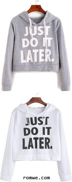 Letter Print Hooded Crop Sweatshirt