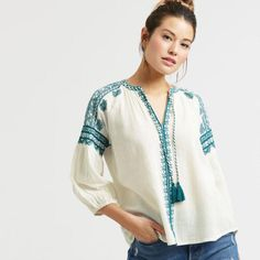 Ivory and Teal Embroidered Kelli Peasant Top - v1